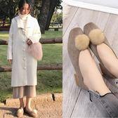 方頭毛毛鞋淺口單鞋粗跟加絨保暖瓢鞋復古淺口瑪麗珍鞋 巴黎春天