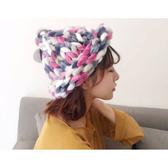 毛帽 混色粗線棒針麻花漁夫帽針織帽【QI1639】 BOBI