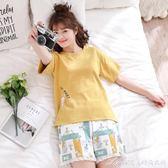 睡衣女夏純棉短袖短褲韓版寬鬆清新學生兩件套夏季全棉家居服套裝艾美時尚衣櫥