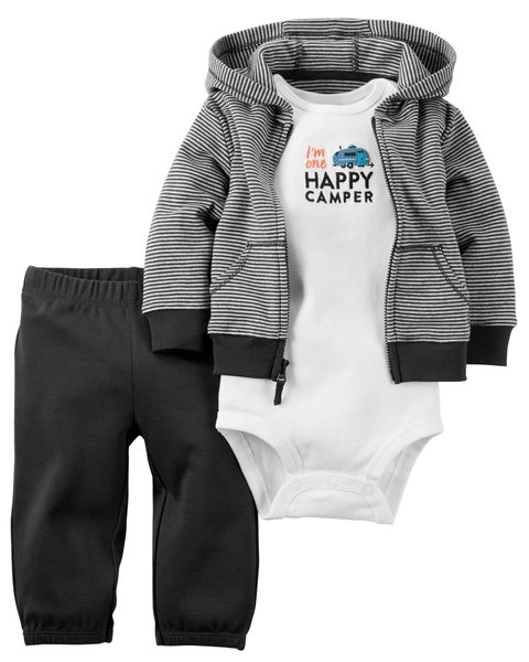 【美國Carter's】套裝三件組-條紋連帽純棉外套+短袖純棉包屁衣+純棉長褲 126G286