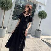 【免運】大碼女裝新品新款氣質顯瘦小黑裙胖妹妹mm夏裝法式遮肚藏肉連身裙