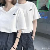 氣質情侶裝夏裝韓版新款白色V領女短袖春裝bf情侶款套裝t恤衫  麥吉良品