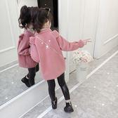 兒童外套女童外套呢子大衣秋冬裝2018新款韓版兒童女孩中長款毛呢洋氣潮衣 喵小姐