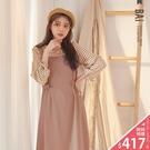 吊帶裙 琥珀釦雙帶腰身設計背心型連身裙-...