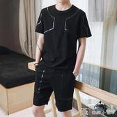 男士短袖T恤運動運動套裝夏季韓版潮流一套帥氣短袖t恤男 全網最低價下殺
