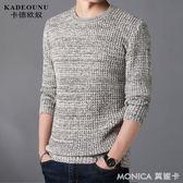 毛衣 毛衣男士冬修身潮打底針織衫男裝青年圓領長袖線衣t恤外套 莫妮卡小屋