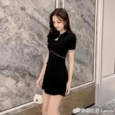 短款改良版旗袍洋裝少女夏裝新款氣質顯瘦兩件套裝小黑裙潮 雙十二全館免運