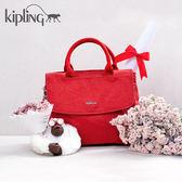 Kipling 紋路質感蘋果紅手提側背包-中