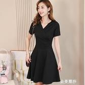 彩黛妃春夏新款韓版時尚大碼百搭純色潮流顯瘦休閒洋裝女 雙十二全館免運