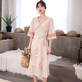 夢伴悠揚 2019新款流行古風裙子 改良漢服套裝雪紡印花薄款連衣裙
