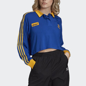 J- adidas ADICOLOR 藍黃 撞色 領子 女款 薄長袖 透氣 舒適 休閒 運動 三葉草 三線 GD2301