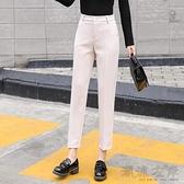 高腰直筒小腳褲休閒西裝褲職業OL九分褲韓版修身女裝春秋新款2020