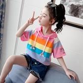 女童T恤 女童夏裝T恤2020新款韓版短袖兒春衛衣圓領上衣小女孩短袖打底衫【快速出貨】