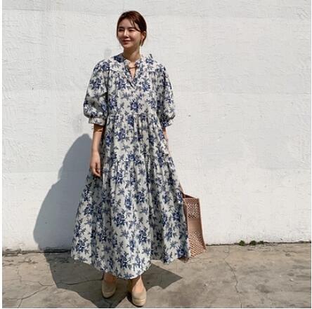 長版洋裝長裙~碎花長裙~宮廷風洋裝長裙~韓版洋裝長裙~碎花條紋寬松連身裙 女 7887.N608莎菲娜