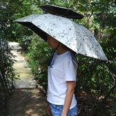 黑五好物節 頭戴傘帽釣魚傘帽雙層二折大號防曬帽子