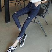 牛仔褲蓋破洞牛仔褲女九分褲韓版時尚糖糖日系森女屋