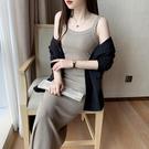 方領洋裝 冰絲無袖針織連身裙春秋2021新款黑色吊帶打底裙女夏氣質修身裙子 寶貝 免運