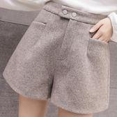 短裤 毛呢短褲女春夏新款高腰a字短褲3分褲女外穿韓版寬鬆闊腿靴褲 瑪麗蘇精品