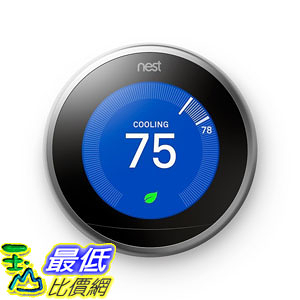 [107美國直購] 溫控器 Nest (T3007ES) Learning Thermostat, Easy Temperature Control for Every Room in Your House