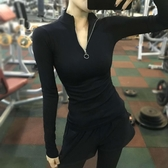 春秋健身服長袖緊身運動上身女速干t恤跑步瑜伽高彈力訓練打底衫