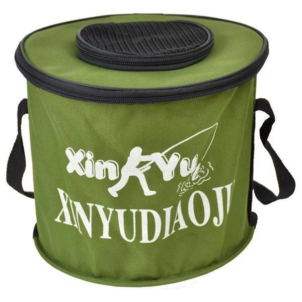 釣魚桶摺疊水桶帶蓋活魚桶便攜防水帆布魚桶釣魚用具裝魚箱手提桶 「店長熱推」