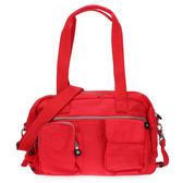 Kipling 經典Latona雙口袋手提斜背包(紅色)460169-8