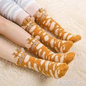 秋冬季加厚保暖珊瑚絨親子睡眠襪女卡通可愛寶寶兒童中長款高筒襪  一米陽光