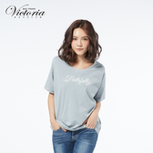 Victoria 文字繡綁緞帶落肩寬鬆短袖