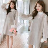 孕婦洋裝 孕婦裝時尚款裙子韓版甜美燈籠袖假兩件格子孕婦連身裙 麥琪精品屋