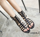 [Kwoomi]帥氣魚骨後拉鍊 羅馬鞋 涼鞋 大尺碼35-40 A41