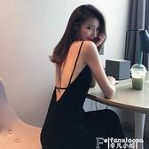 吊帶洋裝 2021夏季夜酒吧店赫本風長裙心機氣質小黑裙蹦迪性感吊帶連身裙女  夏季新品