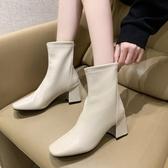 襪靴.韓國街頭素面後拉鍊粗跟方頭短靴.白鳥麗子