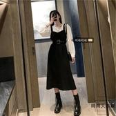 大碼吊帶連身裙遮肚裙子顯瘦長袖胖mm中長款【時尚大衣櫥】