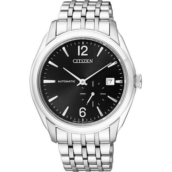 CITIZEN NP系列 卓越工藝都會機械腕錶(鋼帶-銀黑)