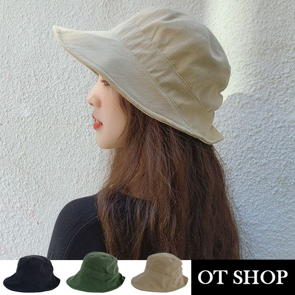 OT SHOP [現貨]帽子 簡約素色漁夫帽 遮陽帽 盆帽 皺褶