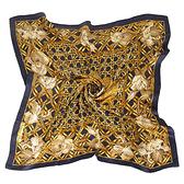 Christian Dior金色槿花古典花紋方型絲巾(深藍色)179010