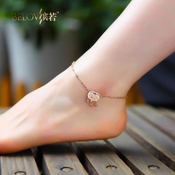 玫瑰金福氣鎖韓國時尚紅繩腳鍊女鈦鋼韓國飾品