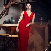 東京衣服 凱特摩絲 性感大V後綁繩抓皺包臀長禮服 晚宴 酒會 主持人 紅