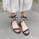 綁帶涼鞋女2020新款仙女風晚晚鞋百搭網紅一字扣帶中跟絲帶高跟鞋 618購物節