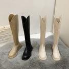 長靴 白色高筒靴女春秋彈力瘦瘦馬丁靴騎士靴不過膝加絨長靴子 阿薩布魯