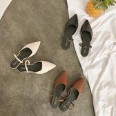 包頭平底半拖鞋女兩穿尖頭一字時尚涼拖懶人鞋潮 薔薇時尚