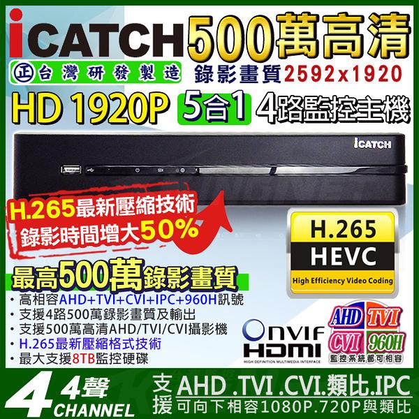 監視器 可取ICATCH H.265 AHD 4路DVR 500萬 監視器主機 1440P 4MP/1080P/720P/960H