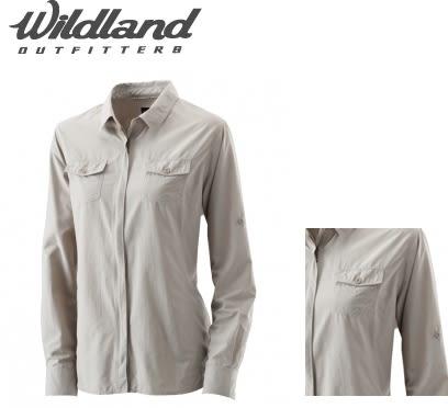 [速捷戶外] WildLand荒野 W1201-83女拉鏈可調節抗UV襯衫-白卡其 (荒野.襯衫.透氣.輕透.UV)