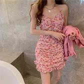 吊帶裙 夏裝2021年新款粉色吊帶收腰碎花連身裙女設計感小眾中長款性感裙 嬡孕哺 免運