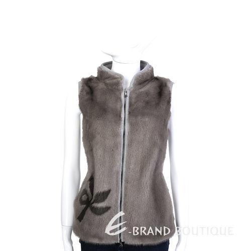 GRANDI furs 小草圖拼接貂毛皮草針織背心(灰棕色) 1440004-28