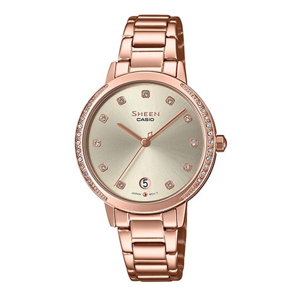 CASIO 卡西歐 手錶專賣店 SHE-4056PG-4A 簡約優雅指針錶 不鏽鋼錶帶 施華洛世奇 防水50米