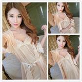 睡衣女夏季天睡裙吊帶短袖性感真絲綢情趣誘惑冰絲雪紡睡袍兩件套