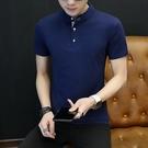 快速出貨 男裝 夏季 短袖t恤潮流純色立領polo衫男韓版