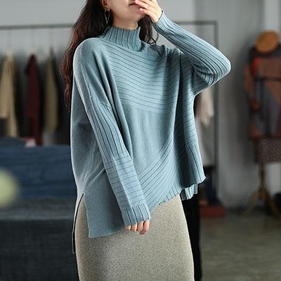 高領打底針織衫 墳條長袖毛衣 包芯紗針織衫/6色-夢想家-1021