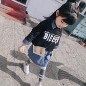 童裝女童春裝2018新款牛仔連衣裙兒童兩件套寶寶洋氣套裝韓版潮衣  無糖工作室